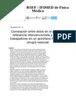 Correlación Entre Dosis en El Punto de Referencia Intervencionista y Dosis a Trabajadores en Un Quirófano Híbrido de Cirugía Vascular - Contribution