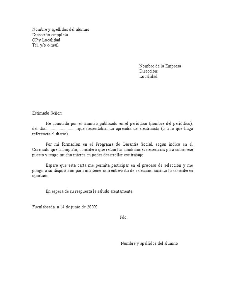 CARTA DE PRESENTACIÓN modelo