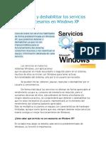 Detener y Deshabilitar Los Servicios Innecesarios en Windows XP