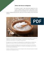 Beneficios Del Cloruro de Magnesio