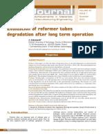 Evaluation of Reformer Tubes Degradation Afer Long Term Exposition