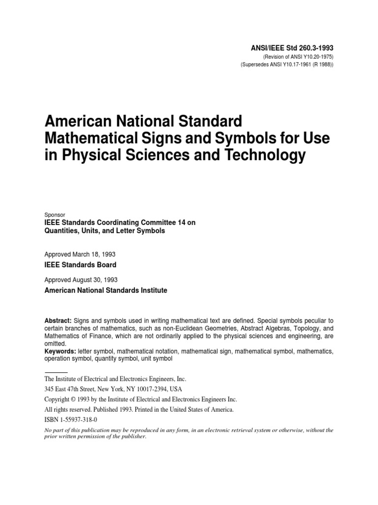 Ansi Ieee Std 2603 1993 American National Standard Mathematical