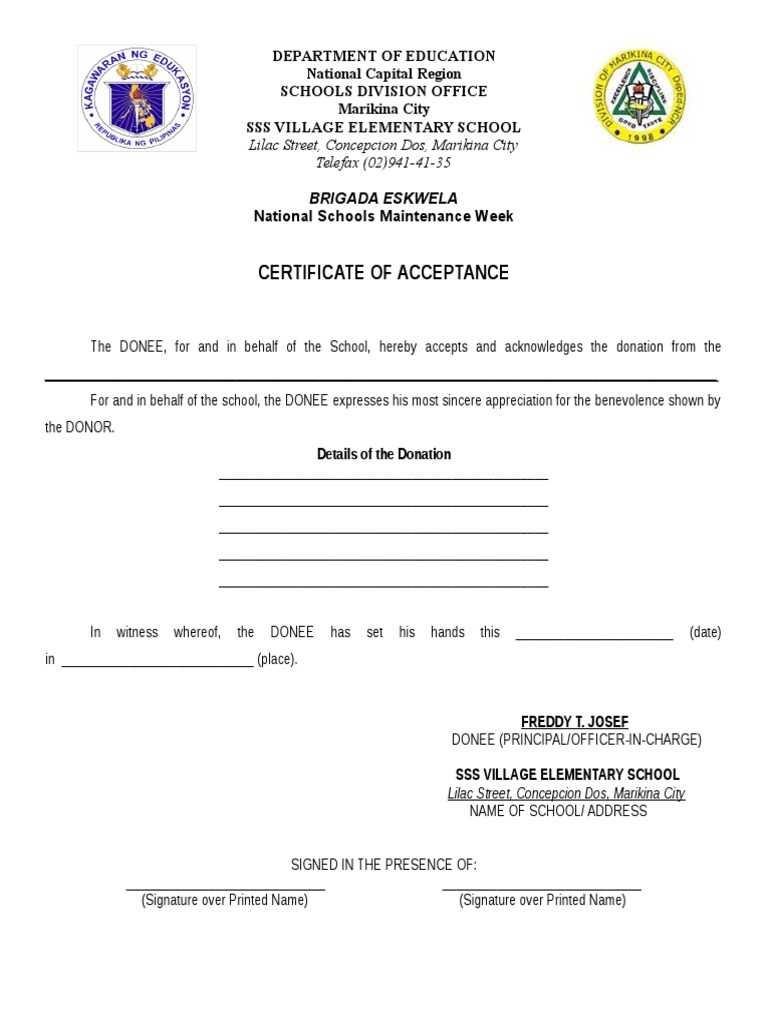 Deed of acceptance yelopaper Images