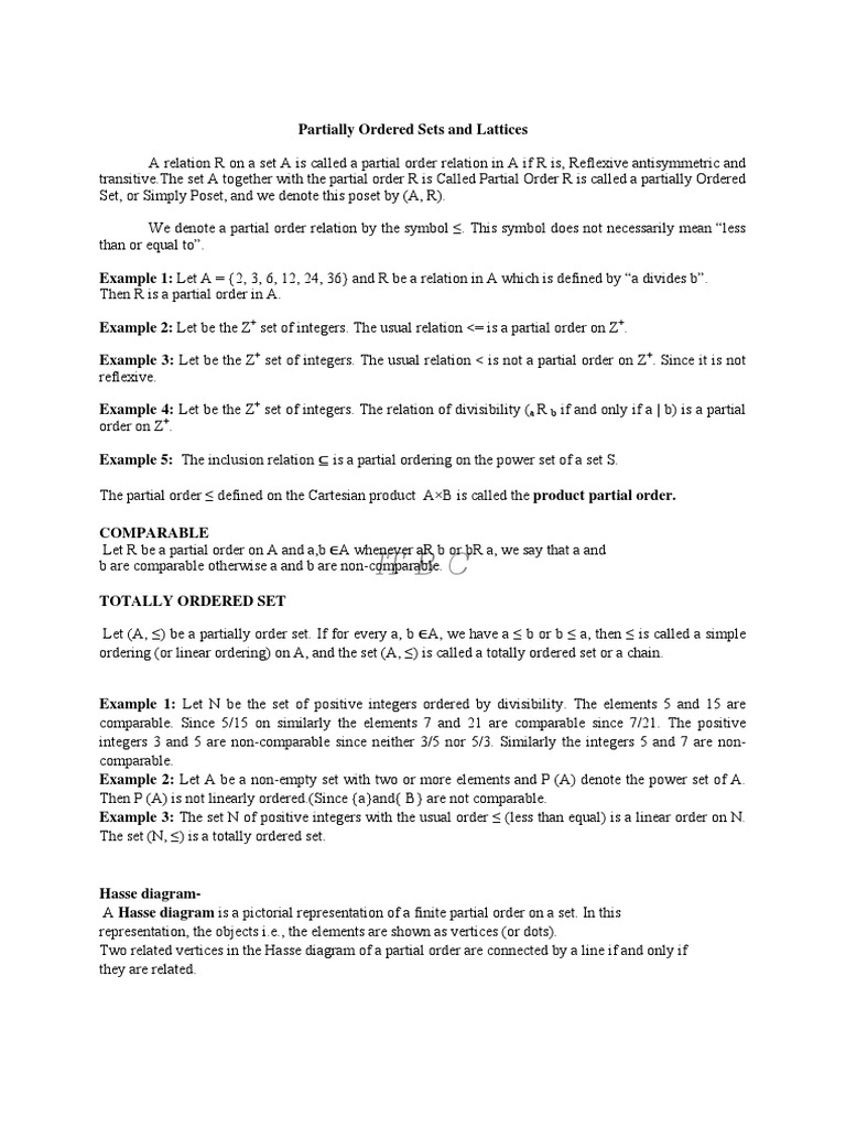 Lattice Algebra Mathematical Relations