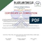 Ssa Solltec Certificate Tennis Summer 2013 Beginner