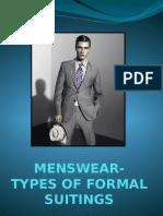 Menswear Types of Formal Suitings