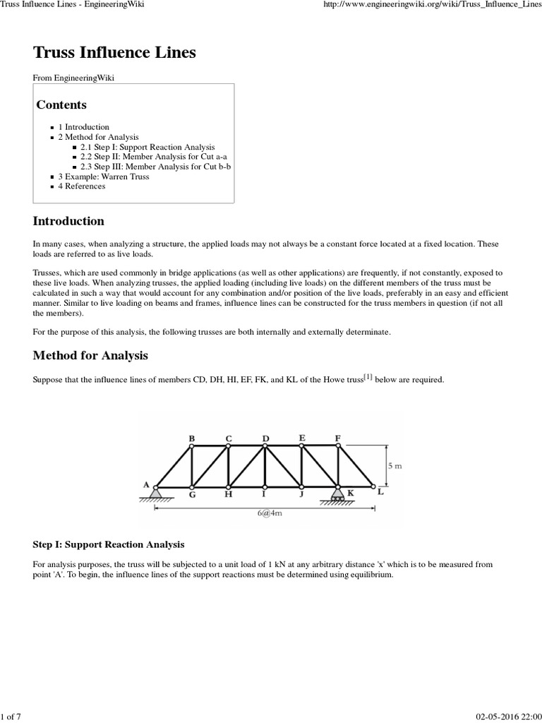 Truss Influence Lines - EngineeringWiki   Truss   Structural Load