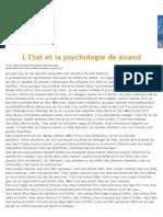 Etat Et Psychologie de Anand Sahib