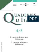 Cuaderns d'Italià - 04-05 (1999) - Il Canone Della Letteratura Italiana Oggi