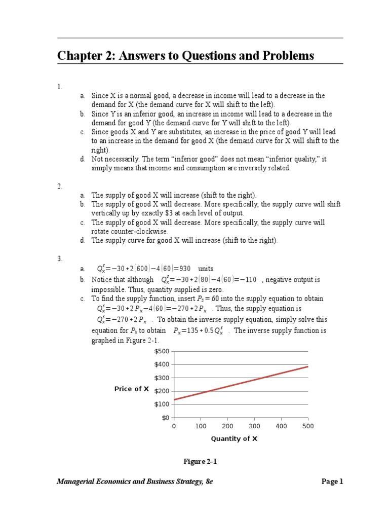 chapter 2 complete solutions economic equilibrium economic surplus rh es scribd com Managerial View Managerial Economics Problems