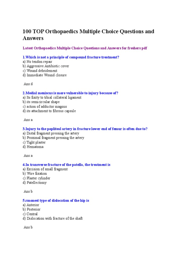 100 TOP Orthopaedics MCQ and Answers | Hip | Elbow