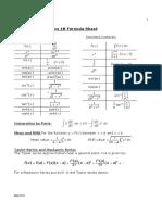 CM1902 Formula Sheet May 2011