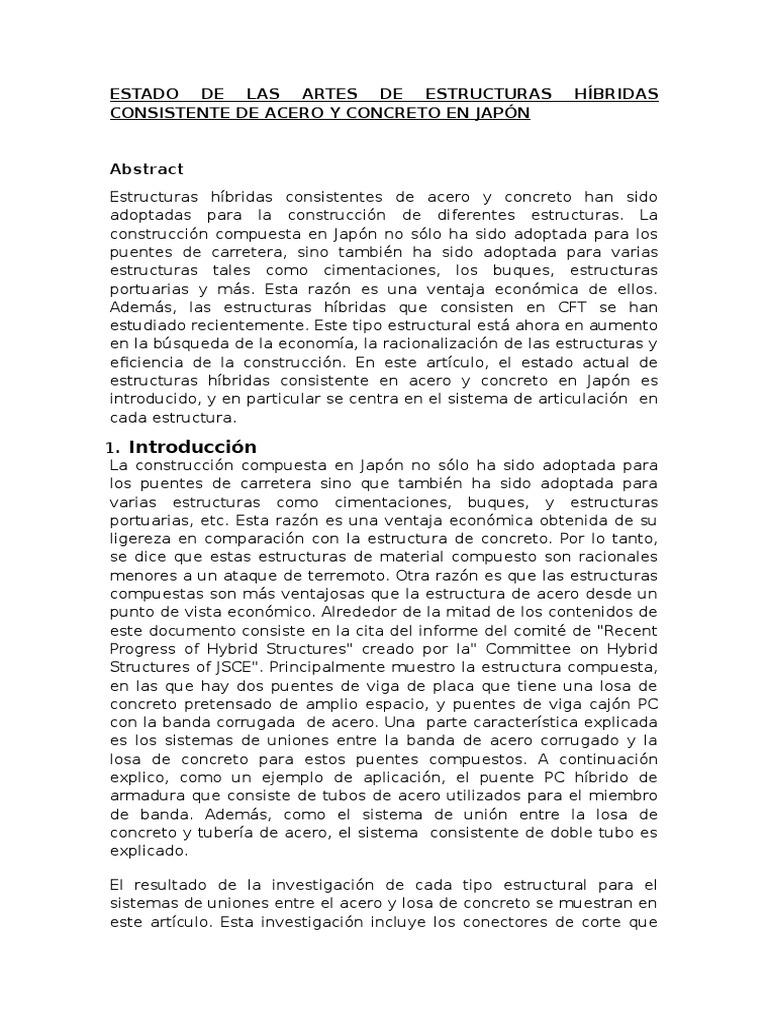 Estado de Las Artes de Estructuras Híbridas Que Consiste en Acero y ...
