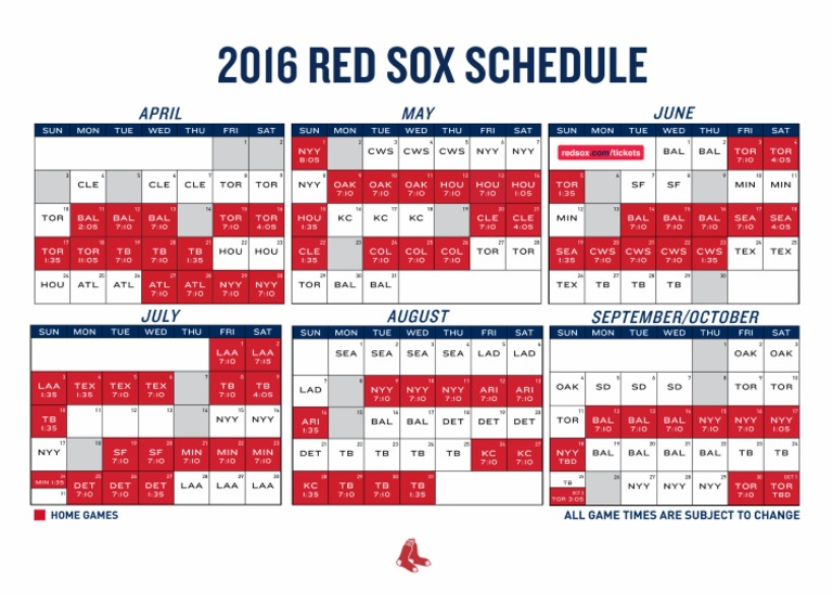 picture regarding Red Sox Schedule Printable referred to as 2016 Purple Sox Printable Routine