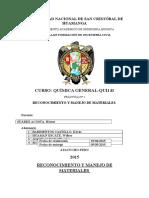 reconocimiento y manejo de materiales de laboratorio de  quimica
