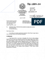 Request by El Paso County Attorney Jo Anne Bernal for TX. Atty Gen Opinion on Transgender Marriage, Dated Apr. 19, 2010