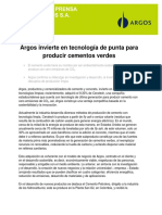 Argos Invierte en Tencologia de Punta Para Producir Cementos Verdes 08-06-11