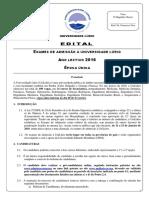 Edital de Exames de Admissao 2016
