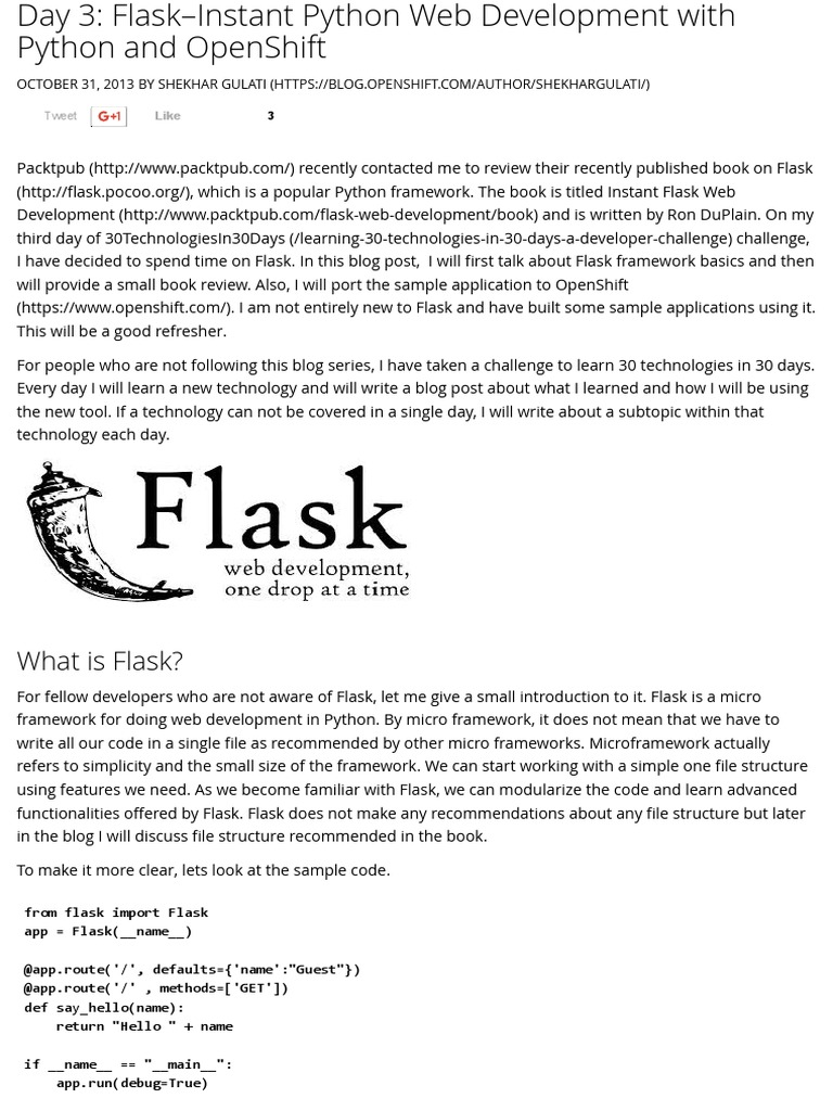Day 3_ Flask--Instant Python Web Development With Python and