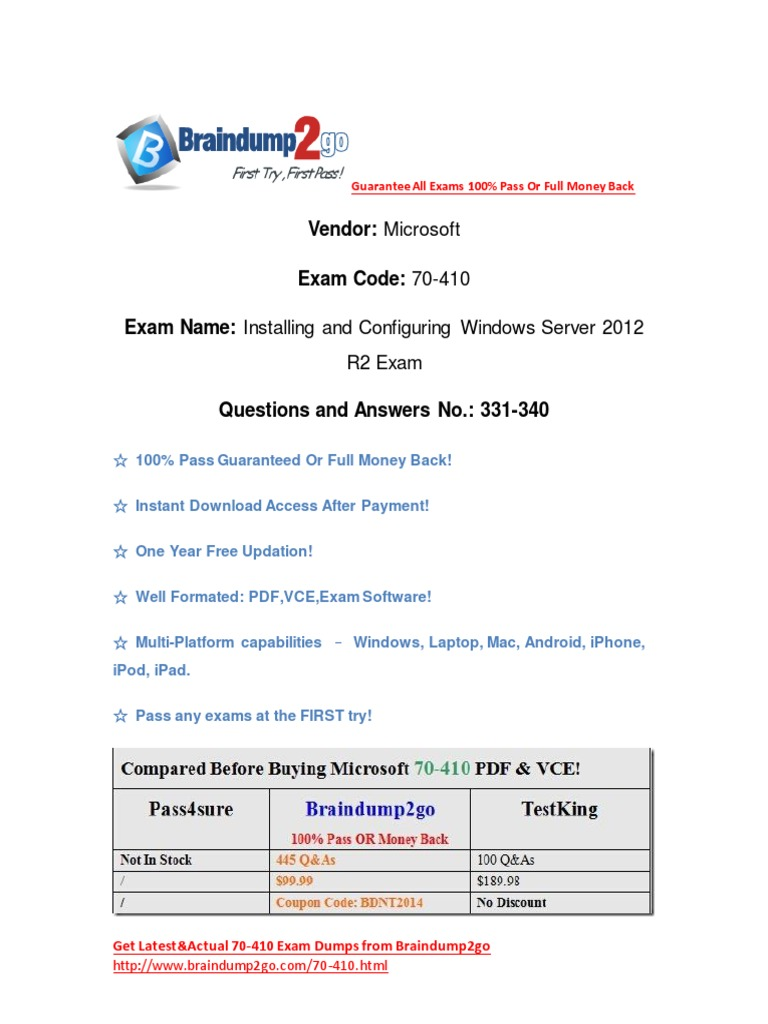 Braindump2go New Released 70 410 Exam Questions Free Instant