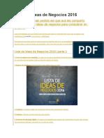 Lista de Ideas de Negocios 2016