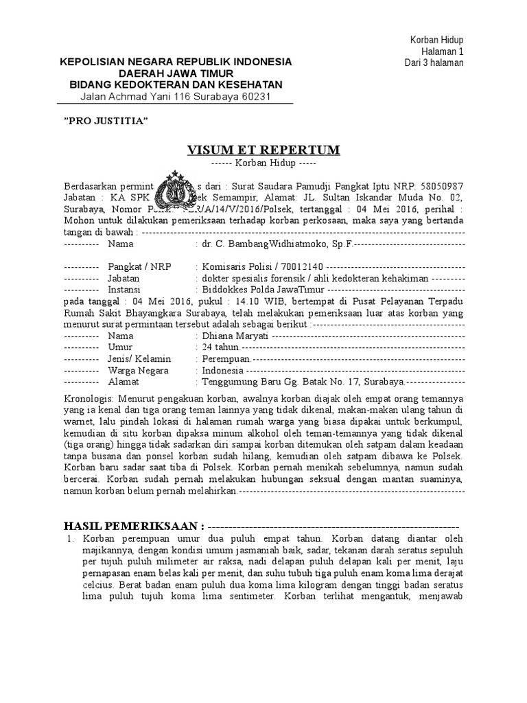 Contoh Surat Visum Et Repertum Informasi Seputar Dunia