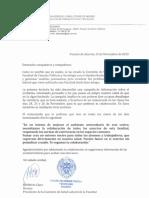 Carta de La Comisión de Salud