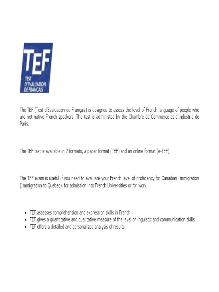 French TEF Exam pdf | Tests | Test (Assessment)
