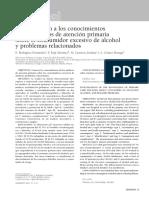 Aproximación a Los Conocimientos de Los Médicos de Atención Primaria Sobre El Consumidor Excesivo de Alcohol y Problemas Relacionados