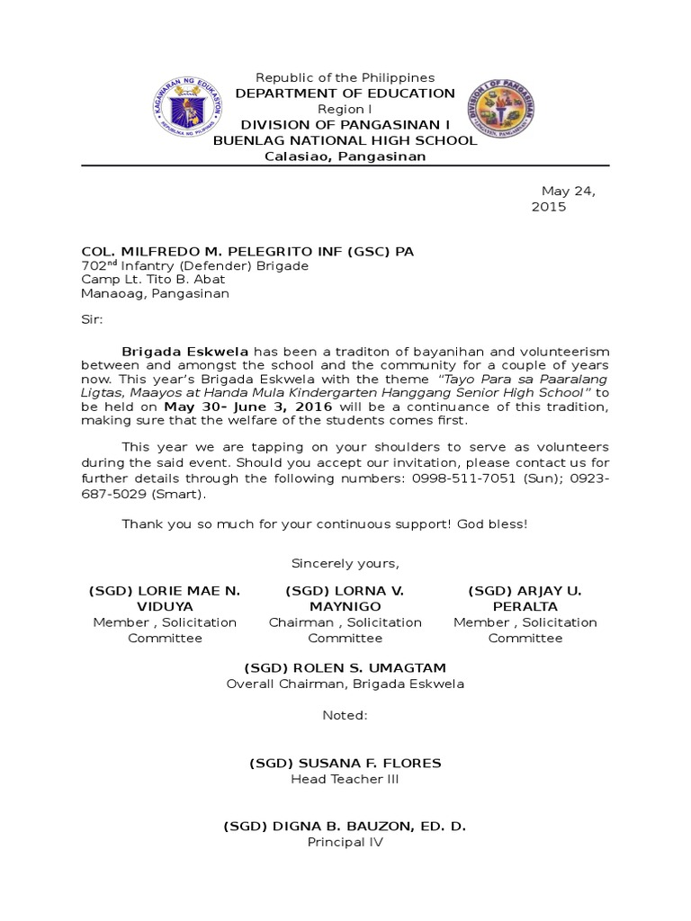 Letter of request to the afp for brigada eskwela stopboris Gallery