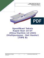 08. Spesifikasi Teknis Kapal Ikan 10 GT Tipe U - (TIPE 8)