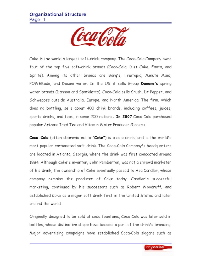 what type of organizational structure does coca cola have