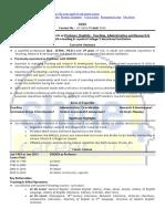 Resume Format Teacher, Professor 1