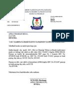 Taarifa Ya Makusanyo Mwezi Wa Aprili 2015