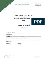 Evaluarea Nationala 2016, cls IV Limba Romana Test 1