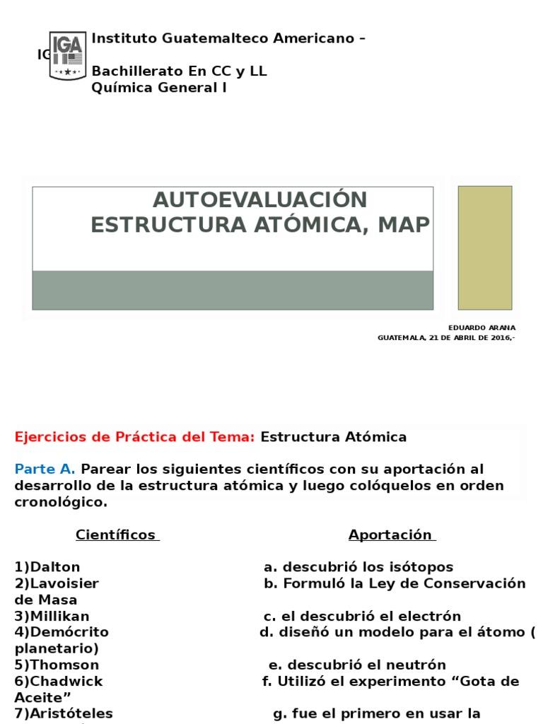 Autoevaluacion Estructura Atomica, Map