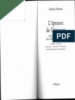 Antoine Berman - L'Epreuve de l'Etranger