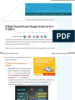 10 Major Personal Finance Changes in FY 2016-17