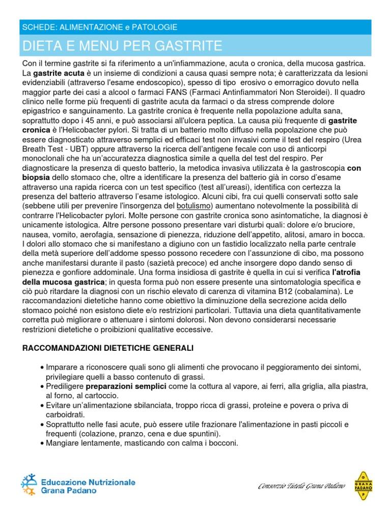 dieta alimentare per helicobacter pylori