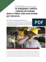 Muerte de Trabajador Califica Como Accidente de Trabajo Pese a Haber Sido Provocada Por Terceros
