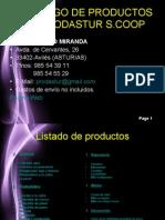 Catálogo de productos de prodastur