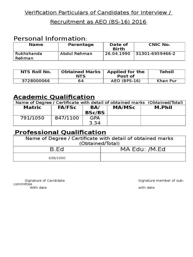 Verification Particulars of Candidates for Interview One by One