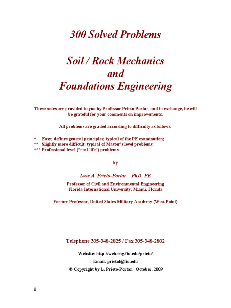 300 Solved Problems In Soil Mechanics Geotechnical And Foundation