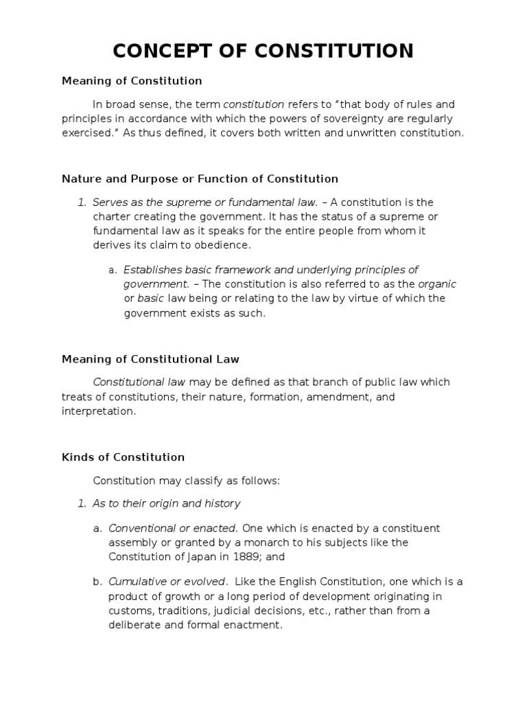 written and unwritten constitution definition