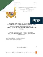 GESTION SOSTENIBLE DE LOS BOSQUES DE ALGARROBO EN LA COMUNIDAD CAMPESINA JOSE IGNACIO TAVARA PASAPERA, DISTRITO DE CHULUCANAS, PROVINCIA DE MORROPÓN, REGIÓN PIURA