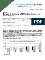 Le chômage dans la zone euro en avril 2016
