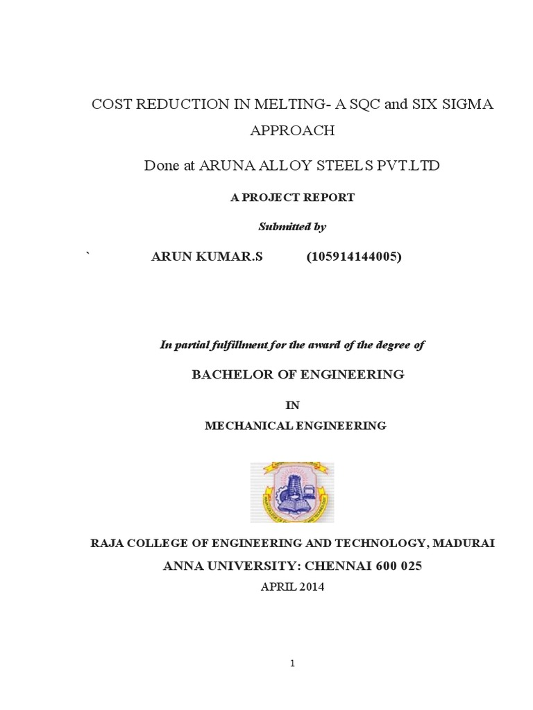 A Project Report On Cost Reduction In Melting A Sqc And Six Sigma