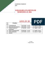 Programarea Examenelor - Anul IV ZI Mai 2016
