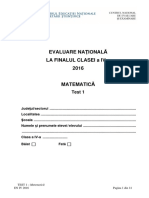 Evaluarea Nationala 2016 cls IV Matematica Test 1