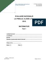 Evaluarea Nationala 2016 cls IV Matematica Test 1